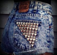 Studded acid wash denim shorts