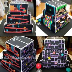 The BritList: Heels, The Video Game Cake, and More via Brit + Co. Maybe a grooms cake Video Game Cakes, Video Game Party, Video Games, Birthday Games, 40th Birthday, Birthday Parties, Unique Cakes, Creative Cakes, Bolo Pac Man