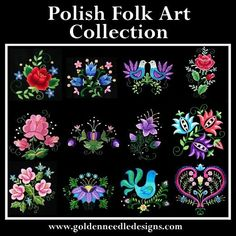 12 Polish folk art machine embroidery designs in pes, art, hus, jef, and vip by goldenneedledesigns on Etsy