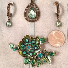 💎Monet Swarovski Flower Brooch +Bonus jewelry set Magnificent Monet Green/Turquoise Swarovski Crystal Brooch for your great touch of class every day.  Bonus Fashion Jewelry Set includes Pendant & matching earrings~not sure of maker. (Cache' Bracelet not for sale as it has already sold separately.)  Monet is timeless, classic jewelry design that will last years & years. #sherriesharley #poshmark #monet #jewelry #fashion #accessories #necklace #earrings # brooch @sherriesharley @poshmark…