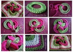 Tutorial #136: Cómo tejer un granny con aros entrelazados | CTejidas [Crochet y Dos Agujas]