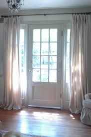 More hanging curtains by the front door. Nice way to hide a front door that goes straight into the living room in the evenings. Front Door Curtains, Privacy Curtains, Curtains For French Doors, Doorway Curtain, Sidelight Windows, Front Doors With Windows, Sidelight Curtains, Windows Side By Side, Bay Windows