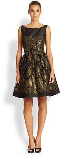 Monique Lhuillier Metallic Lace Dress on shopstyle.com