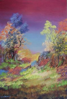 Buy COLOURFUL NATURE: OIL ON STRETCHED CANVAS( 900mm x 600mm x 30mm)for R3,300.00