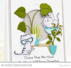 Cat Plants, Mft Stamps, Cat Cards, Animal Cards, Card Kit, My Favorite Things, Card Making, Artsy, Paper Crafts