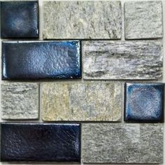 Studio E Edgewater Silverstrand Glass and Slate Mosaic & Wall Tile - 5 in. x 5 in. Tile Sample-DISCONTINUED-88632 at The Home Depot