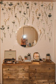 mirror - target flowers (fake)- hobby lobby crosley record player- urban out. - interior design - mirror – target flowers (fake)- hobby lobby crosley record player- urban outfitters small m - Cute Room Decor, Room Decor Bedroom, Bedroom Inspo, Flower Room Decor, Cozy Bedroom, Wall Decor, Target Room Decor, Ikea Bedroom, Bedroom Furniture