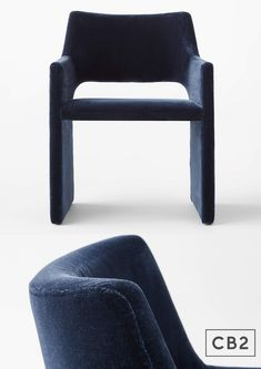 Faux mohair in deep navy is framed up in an architecture-inspired dining chair worthy of a Parisian loft. Designed by Caleb Zipperer, arms and legs flow together as one, giving base to a super-plush seat deep enough to pass as a comfy accent chair.