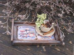 """Купить Маленький поднос """"Чай с вареньем"""" - коричневый, голубой, поднос, поднос для кухни, поднос для завтрака"""