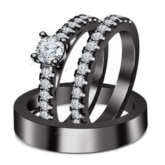 His & Her Solitaire With Accents Trio Ring Set Rd D/VVS1 Diamond Black Gold Fn #aonejewels