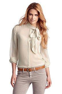 Zijden blouse ´Eljadidae` met strikkraag
