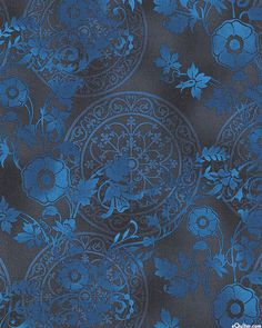 Shadowland III - Medallions and Blooms - Navy Blue. From eQuilter.com