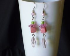 Fun pink and green dangle earrings - Edit Listing - Etsy
