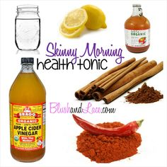 Skinny Morning Health Tonic, drink apple cider vinegar everyday for health benefits like weight loss,lower cholesterol, metabolism boost and other heart healthy benefits.