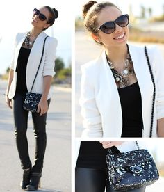 Necklace with the simple white blazer... with any outfit is perfect for a fall/winter NYC look!
