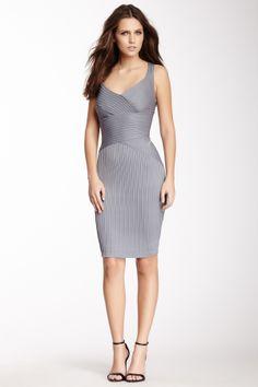 Surplice Pintuck Dress