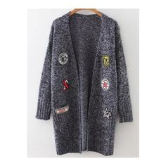 SheIn(sheinside) Navy Marled Knit Patch Long Cardigan With Pockets (£19) ❤ liked on Polyvore featuring tops, cardigans, navy blue, embellished cardigan, marled cardigan, long cocoon cardigan, cocoon cardigan and long sleeve tops