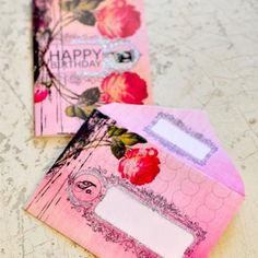 Gorgeous rose card and envelope.