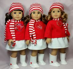 February 14 outfits - sewn by Shirley Fomby - Doll Clothes by Shirley SOLD