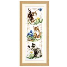 Kittens and Flowers - Cat Cross Stitch Kit