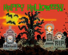 Make a creepy graveyard scene with Perler beads! Self-standing pieces make it easy and fun. Add a little Spanish moss for effect, and you have one spooky cemetery!