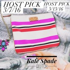 "FINAL PRICE! ✨2x HP✨ Kate Spade Adrianne Clutch Kate Spade Adrianne Clutch in Oak Stripe! Authentic   I used this as my pencil case for school last semester so it's little dirty (mostly on the back, a couple little spots on the front, and around the zipper area but not very noticeable). So cute & it's a great deal!  Measurements: 11"" by 9 1/2""  ✨HP of ""Spring Fling"" party on 3/7/16 & of ""Total Trendsetter"" party on 3/13/16✨ kate spade Bags Clutches & Wristlets"