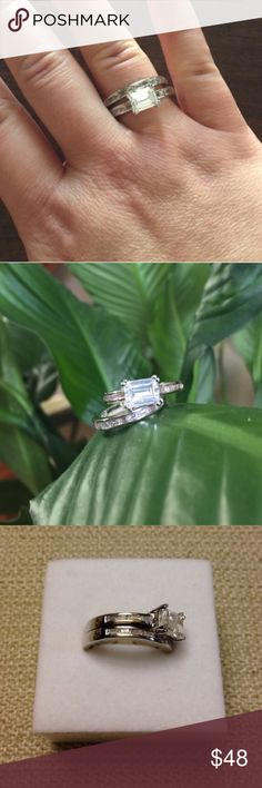 🆕 OJDC 2pc Wedding Set This piece features a emerald cut center surrounded by smaller brilliant baguette cubic zirconia gemstones channel set in an Art Deco vintage design | totaling 2.4ct this ring is not only beautiful but bold in carat weight | price firm unless bundled | made from hypoallergenic, lead and nickel free alloy (brass) and is rhodium plated for a platinum finish OJDC Jewelry Rings