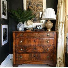 Gorgeous antique chest!! Love the burl wood.