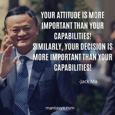 """""""Your attitude is more important than your capabilities. Similarly, your decision is more important than your capabilities. Genius Quotes, Amazing Quotes, Great Quotes, Business Motivation, Business Quotes, Study Motivation, Quotes Motivation, Business Tips, Motivational Blogs"""