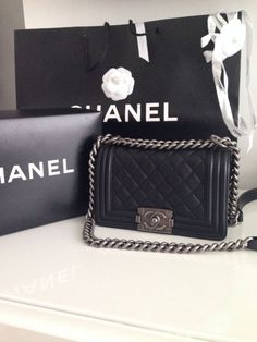 Authentic Chanel Le Boy Bag Small Black Lambskin Silver Hardware | eBay