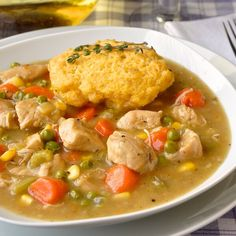 Easy chicken stew in only about 2 hours with fresh herb flavours to enhance the rich gravy. Cornbread dumplings go perfectly with this comfort food meal. Chicken Stock Gravy, Easy Chicken Stew, Chicken Recipes, Sage Recipes, Rock Recipes, Yummy Recipes, Newfoundland Recipes, Canadian Food, Canadian Recipes