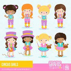 CIRCUS GIRLS Digital Clipart Set Imagenes Circo por GRAFOSclipart