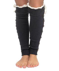 CoziBear Boutique Charcoal Button-Up Leg Warmers | zulily