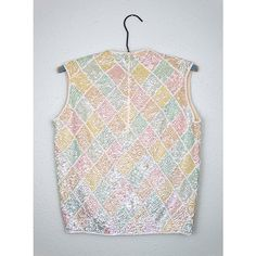 60s Pastel Sequined Top Argyle White Hand Beaded Sequin Top Iridescent... (7.890 RUB) ❤ liked on Polyvore featuring tops, vintage beaded top, pastel tops, white beaded top, white sequin top and sequin embellished top