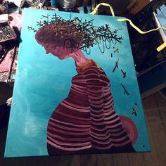 || breed || #painting #workinprogress #wip #canvas #acrylic #artwork #copenhagen #nørrebroparken #treehouse #figurativepainting #fatguy #night #work #brush #process #latenight by simonfensholm