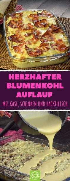 SO genial hast du Blumenkohl noch nie gegessen.Everyone loves this cauliflower casserole! Delicious cabbage in a creamy sauce with minced meat, cheese and crispy ham. This casserole tastes just as good for lunch as it is for dinner - t Casserole Recipes, Meat Recipes, Mexican Food Recipes, Chicken Recipes, Cooking Recipes, Drink Recipes, Cauliflower Casserole, Cauliflower Recipes, Cabbage Casserole
