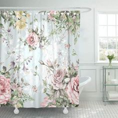 Shabby Chic Shower Curtain, Floral Shower Curtains, Shabby Chic Curtains, Bathroom Shower Curtains, Shabby Chic Fabric, Shabby Chic Wallpaper, Rosa Shabby Chic, Estilo Shabby Chic, Vintage Shabby Chic