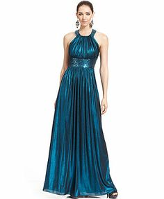 Calvin Klein Metallic Sequin Halter Gown. Can I get this anywhere for much cheaper??