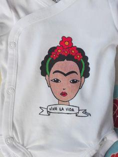 Frida Kahlo baby body long sleeve Viva La Vida hand painted 100% cotton body shirt sleeve pelele mexican boy girl custom personalized di PassionHandMade14 su Etsy