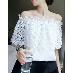 Elegant Boat Neck Openwork White Blouse For Women
