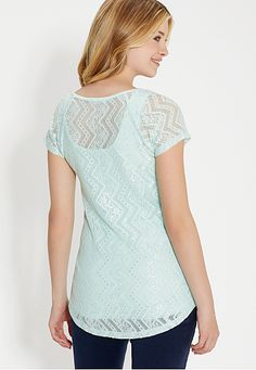dot print tee with floral and chevron lace back - maurices.com