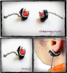 Chomp chain earrings charm chibi in polymer clay inpired super mario