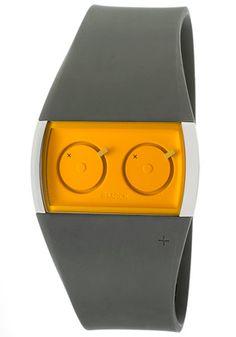 Philippe Starck PH5030 Watches,Dual Time Orange Dial Grey Polyurethane, Men's Philippe Starck Quartz Watches