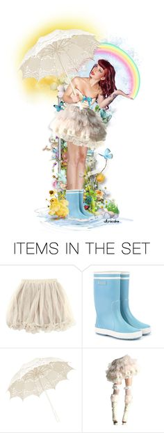 """""""Rain makes Rainbows"""" by ultracake ❤ liked on Polyvore featuring art, dolls, rain, promo, artexpression and ultracake"""