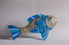 Items similar to Paper Mache Fish Sculpture on Etsy Paper Mache Projects, Paper Mache Crafts, Diy Paper, Paper Art, Paper Mache Animals, Clay Fish, Fish Sculpture, Fish Crafts, Paperclay