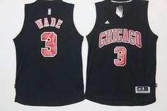 de3a23f234de Men s Chicago Bulls Dwyane Wade All Black With Red Stitched NBA Adidas  Revolution 30 Swingman Jersey