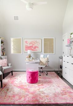 Girly Glam Office - Pink, Gold, White, and full of function! #office