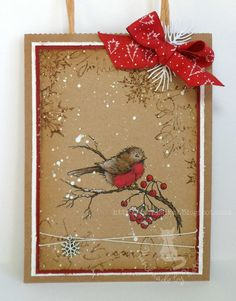 Hello lovely peeps. I found a lovely card on Pinterest by Minna0402 and it inspired me to do something similar with some kraft pa...