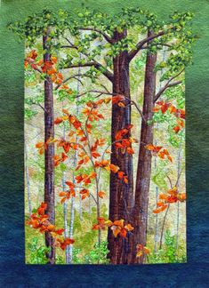 Cathy Geier's online quilt gallery and store featuring a wide selection of landscape quilting fabric, watercolor landscape quilts,landscape quilts, quilts for sale, and how to make landscape quilts lessons. Landscape Art Quilts, Watercolor Landscape, Tree Quilt, Quilt Art, Fall Quilts, Thread Painting, Applique Quilts, Tree Art, Fabric Art