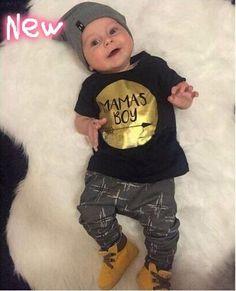09c8754d5a29b 2018 Summer baby boy clothes new born baby clothing set cotton short  sleeved gold printing t-shirt+pants Boy girl 2pcs set